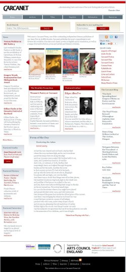 Carcanet website screenshot  - their website increased their sales